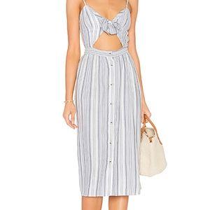 Striped front tie midi dress